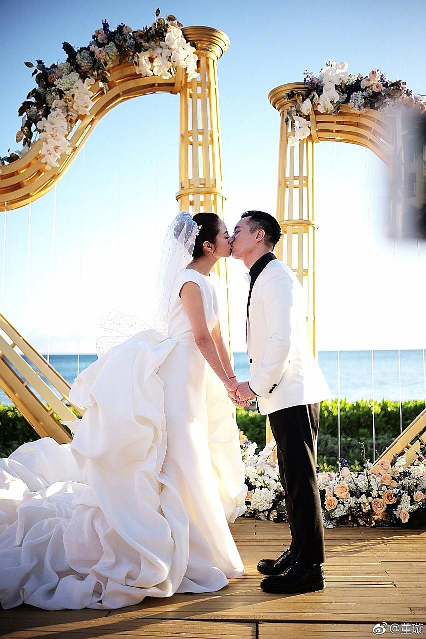 Actress Ady An wore a custom-made Stephane Rolland bridal gown when she married businessman Levo Chan in Hawaii on Monday.