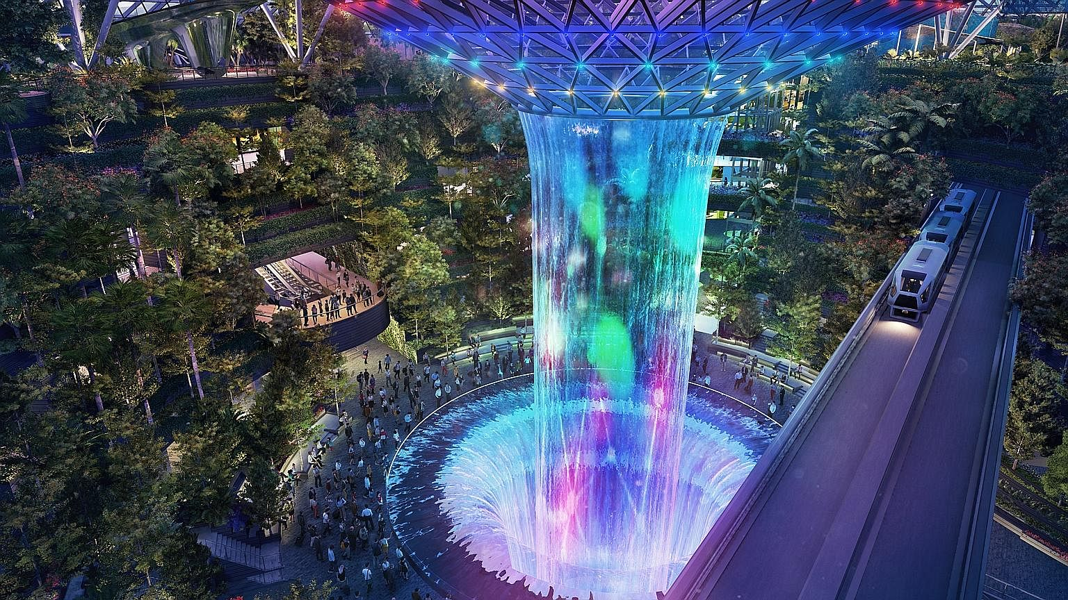 The Rain Vortex, which will transform into a light-and-sound show, is one of the features at Jewel, which opens in early 2019. Jewel Changi Airport's Topiary Walk, where animal-shaped topiaries will add an element of surprise for visitors.