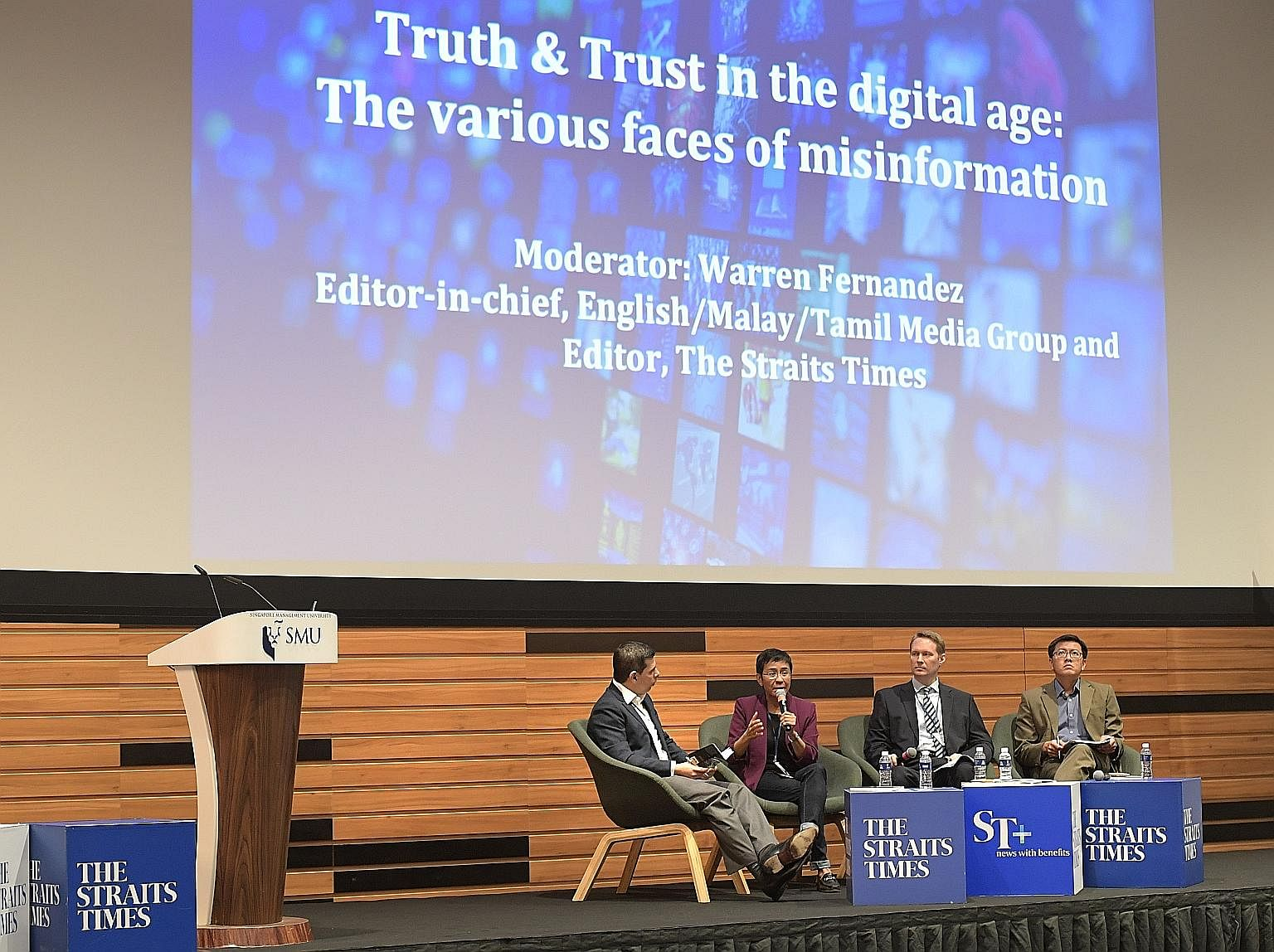 The Various Faces of Misinformation, featuring (from left) Straits Times editor Warren Fernandez, who was the moderator, and speakers Maria Ressa, Jason Subler and Eugen