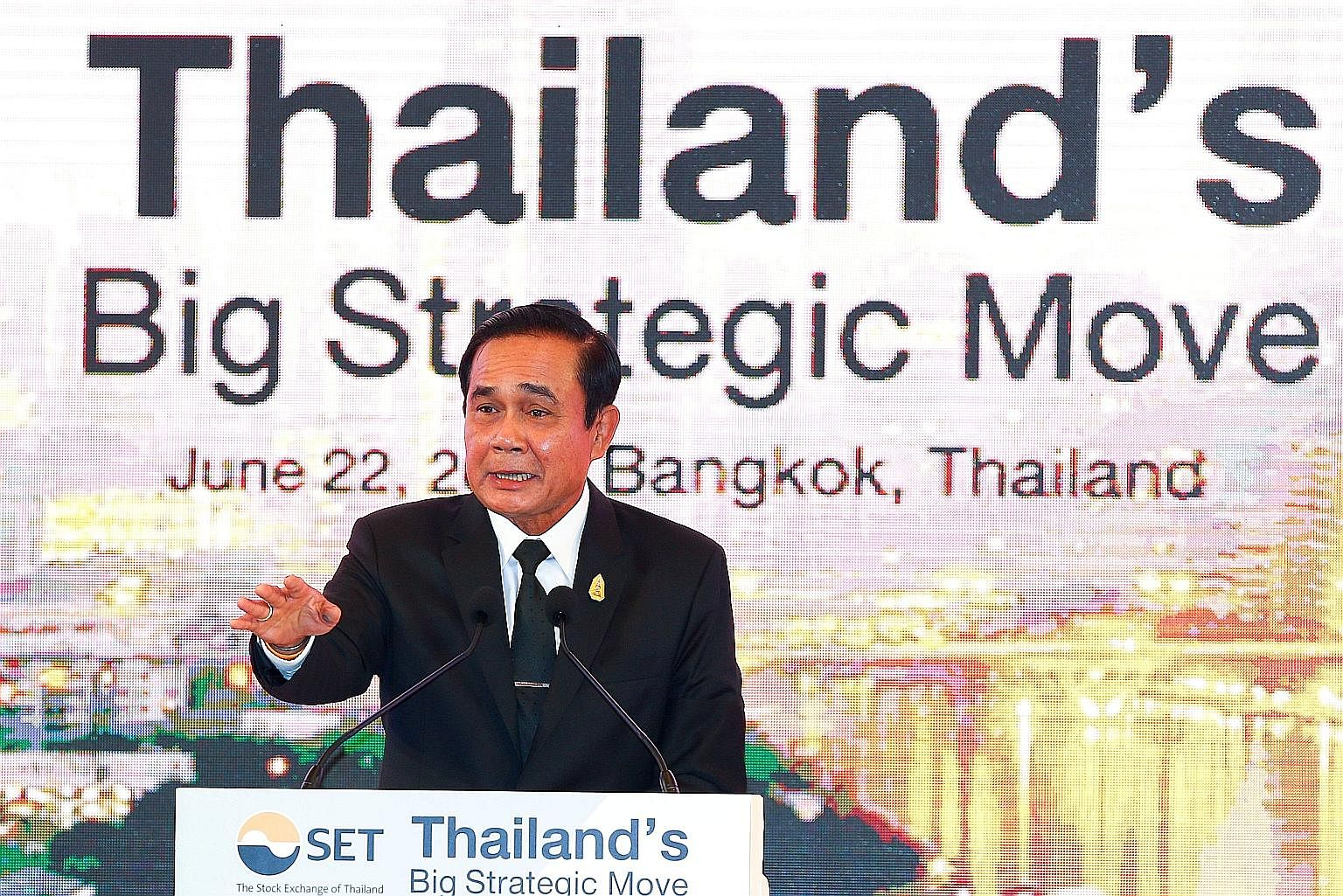 "Thai Prime Minister Prayut Chan-o-cha speaking to investors at the Big Strategic Move conference in Bangkok last week. Despite repeated assurances about holding a general election, the four politically charged questions he asked recently and his ""50"