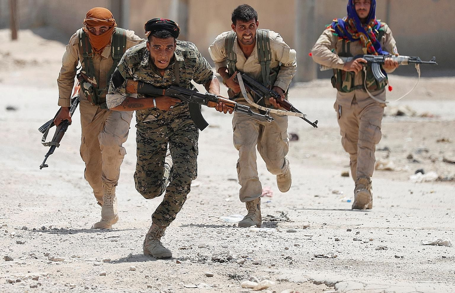 The liberation of Raqqa, Syria, is largely conducted by the Syrian Democratic Forces, a coalition of various pro-Western militia in which ethnic Kurds drawn from the People's Protection Units predominate.