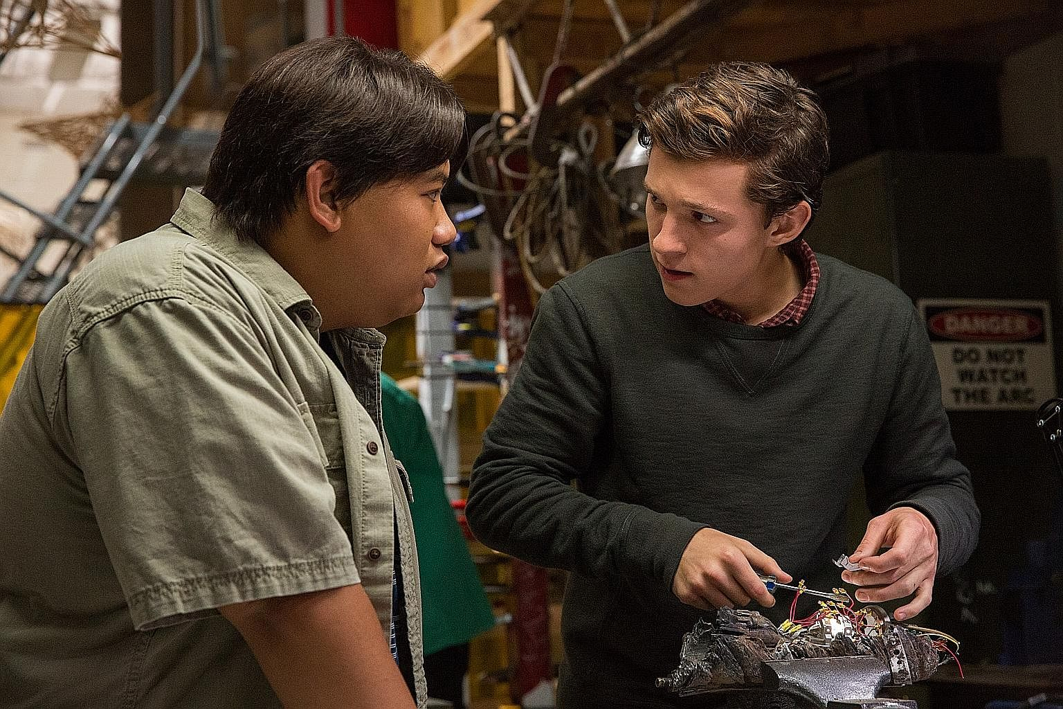Homecoming is Tom Holland (right), while Jacob Batalon stars as his best friend Ned.
