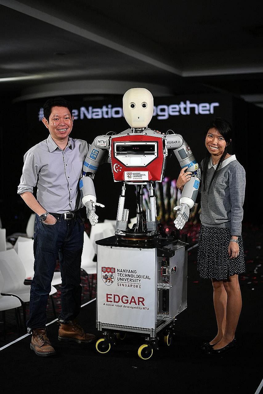 """Edgar was """"born"""" in Nanyang Technological University three years ago, and was programmed by Dr Wong Choon Yue and NTU research associate Pang Wee Ching to express the wish to perform at an NDP."""