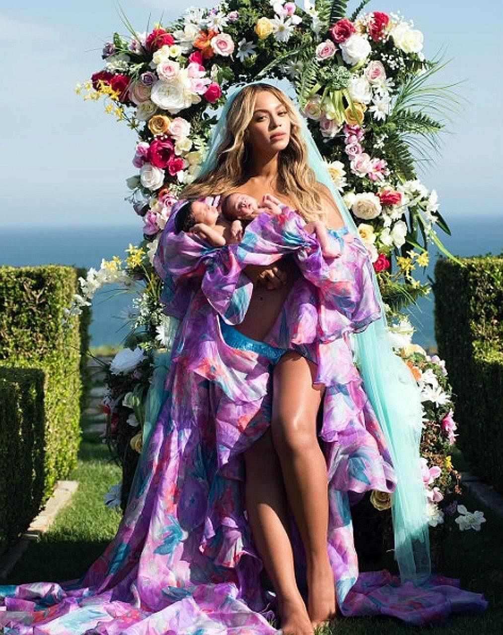 """Beyonce's (left) picture of her newborn twins on Instagram received about eight million """"likes"""" in 12 hours. Also shared on Instagram was the birth of Kevin and Danielle Jonas' baby Alena Rose (above), in a tie-up with Dreft, a baby fabric detergent"""