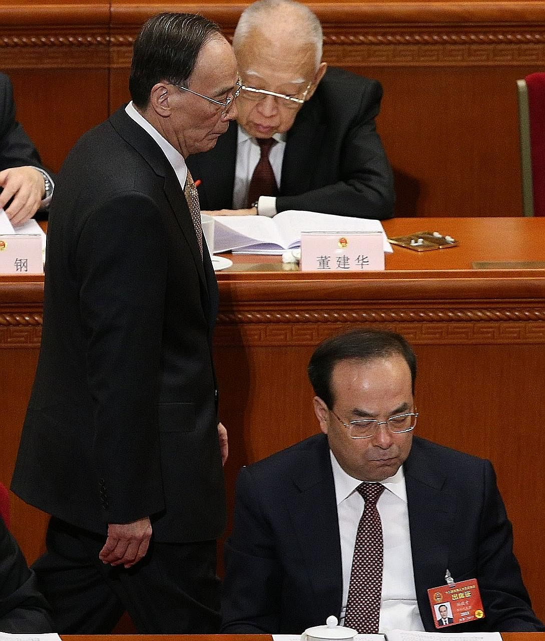 Mr Sun Zhengcai (right), seen in a March file photo, is being investigated by the Central Commission for Discipline Inspection, whose chief is Mr Wang Qishan (left).