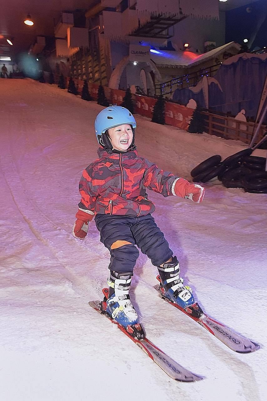 Four-year-old Park In Joon skiing yesterday at Snow City, at the launch of the Singapore Ski and Snow Open. The inaugural event, from Aug 4-6, is aiming to attract more than 1,000 skiers and snowboarders. The organisers, Sportquest, will bring coache