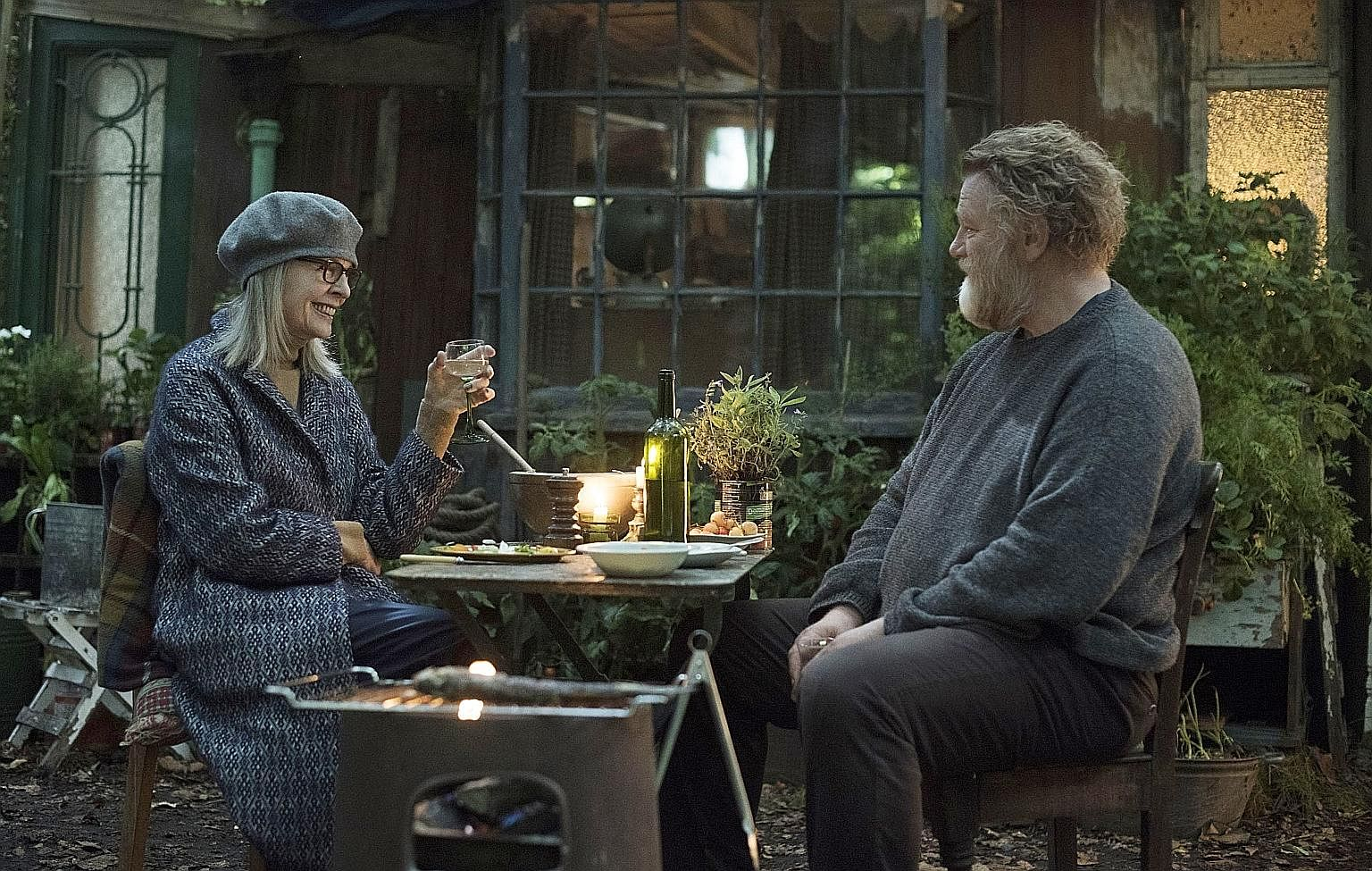 (Above) Diane Keaton and Brendan Gleeson in Hampstead.
