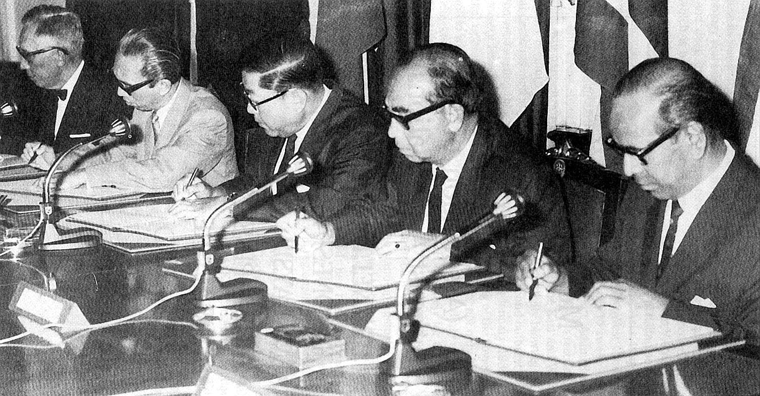 Singapore's foreign minister S. Rajaratnam (far right) at the historic meeting in Bangkok to sign the founding of Asean declaration on Aug 8, 1967, together with (from left) foreign ministers Narciso Ramos of the Philippines, Adam Malik of Indonesia,