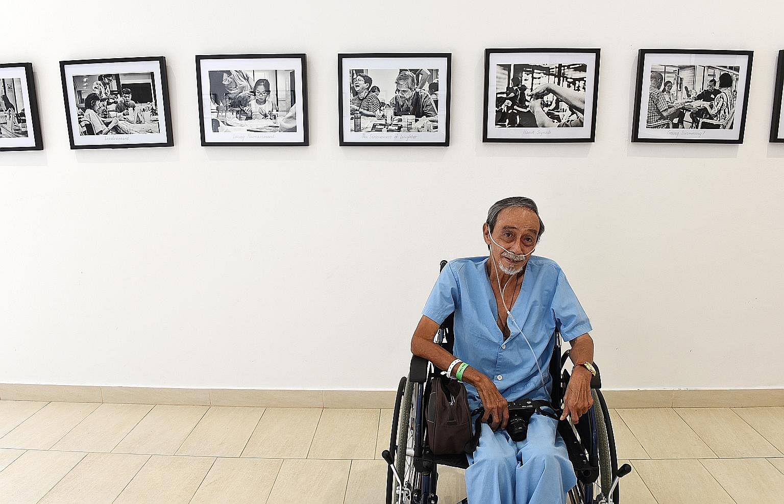 Mr Alan Lee, 69, suffers from end-stage chronic obstructive pulmonary disease, a progressive respiratory disease that causes breathing difficulties. He is spending his last days at the Assisi Hospice. His exhibition of 19 portraits of his fellow pati