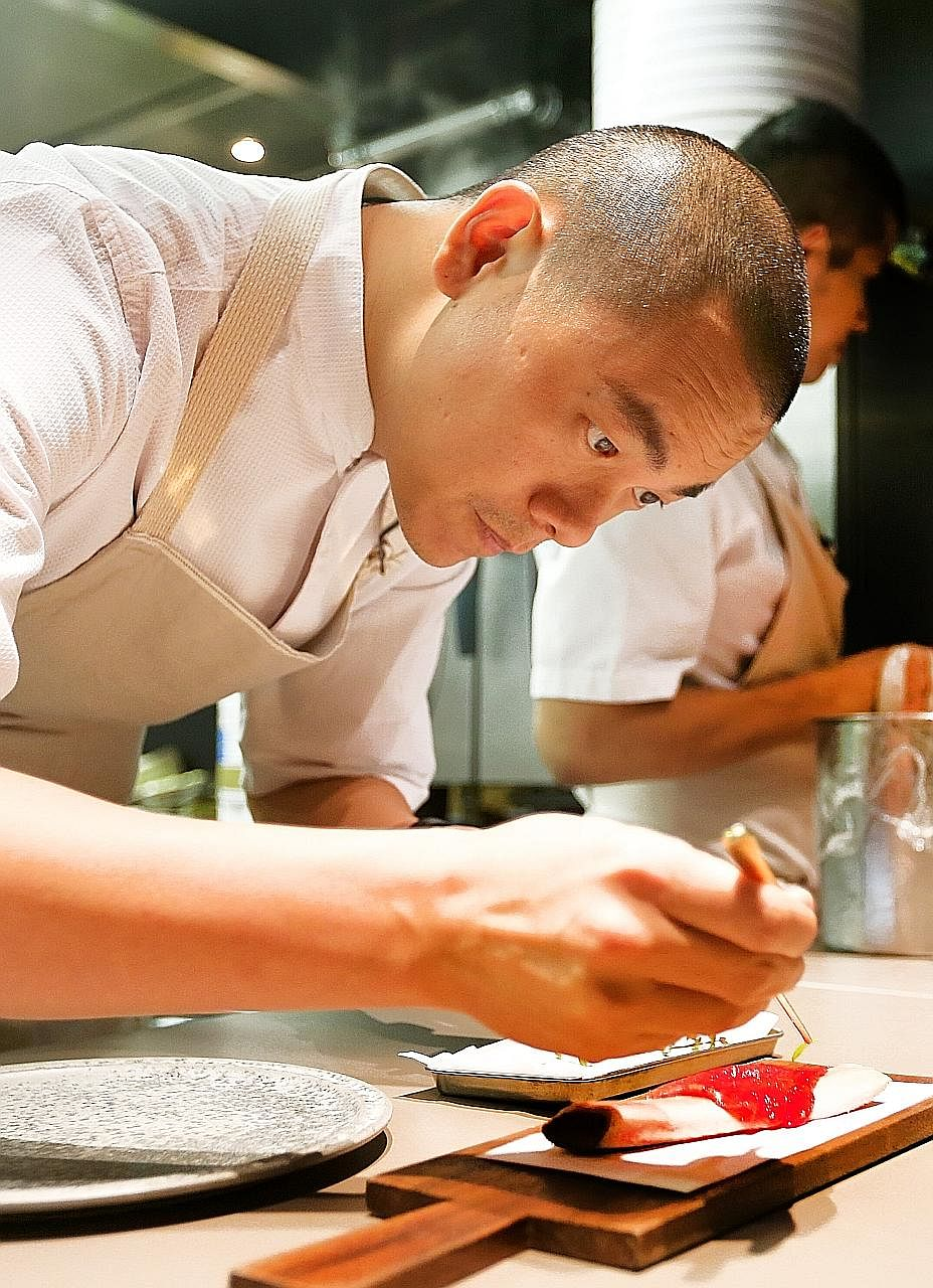 "Chef Andre Chiang (above) is planning to serve a dish that looks like cuts of red meat draped over a bone, except that the ""meat"" is watermelon."