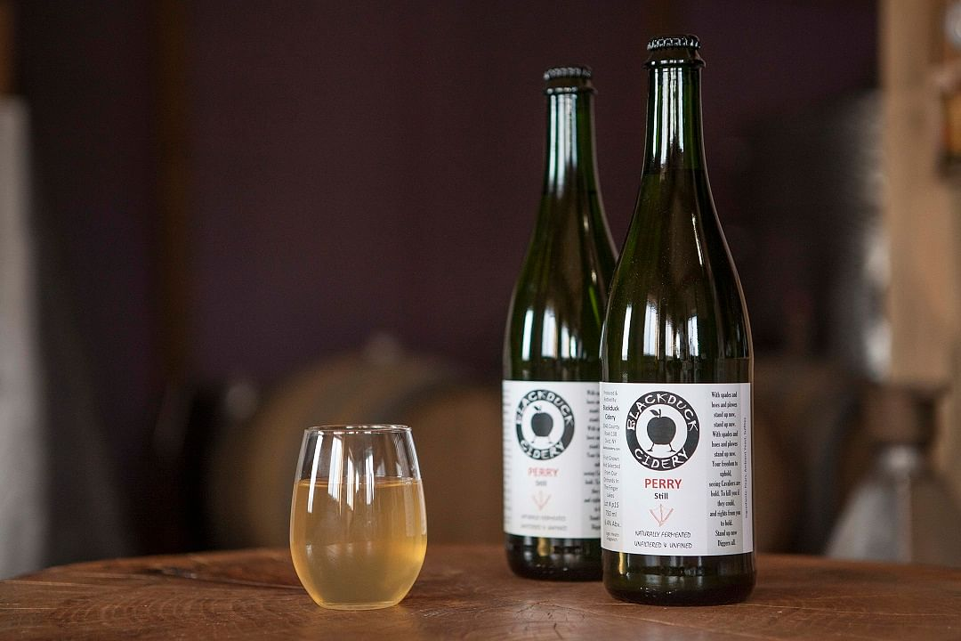Bottles of pear cider, called perry, at Blackduck Cidery in Ovid, New York.