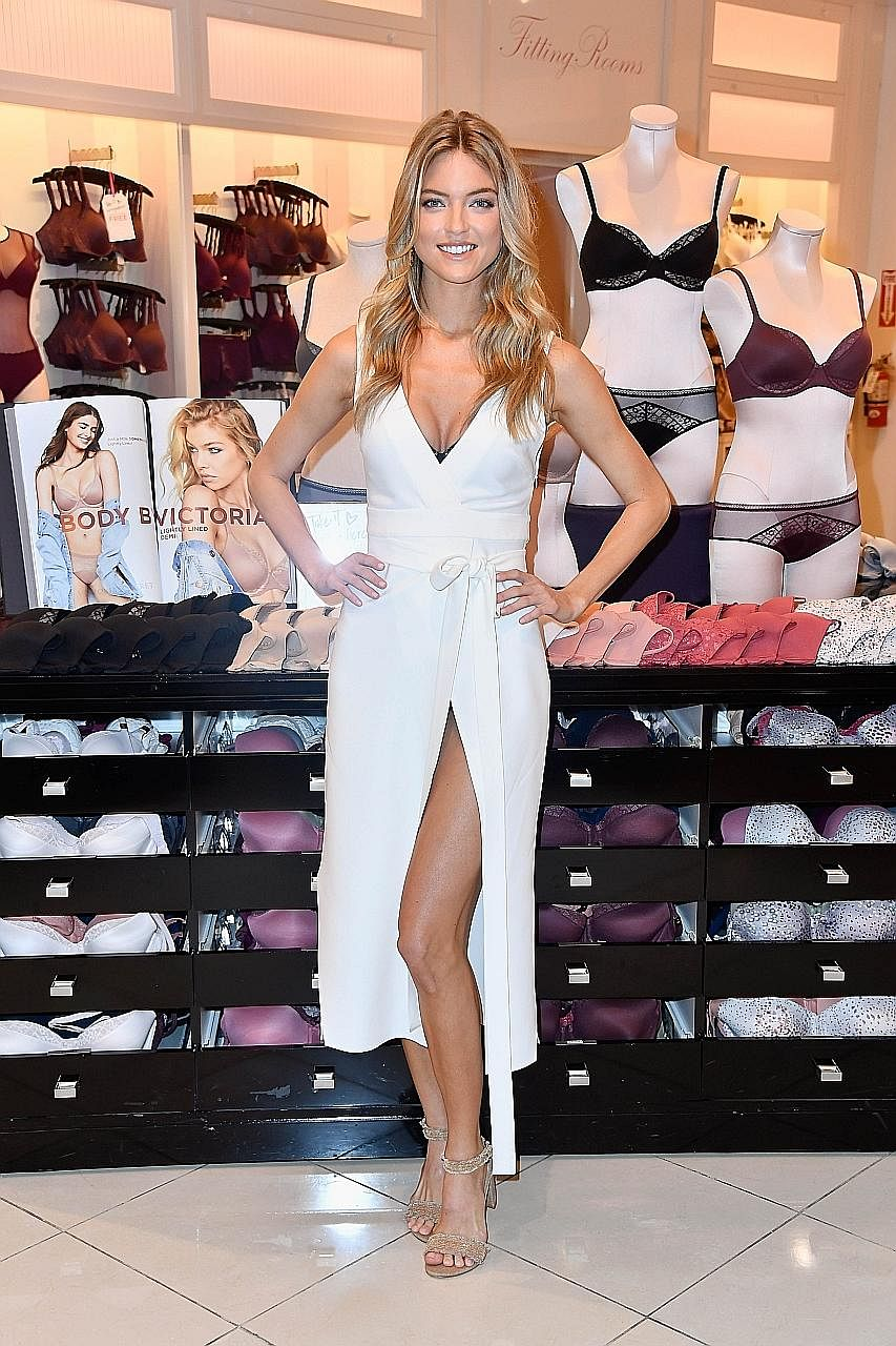 Victoria's Secret Angel Martha Hunt introducing the new Body by Victoria collection at Victoria's Secret Beverly Center on Aug 1 in Los Angeles, California.