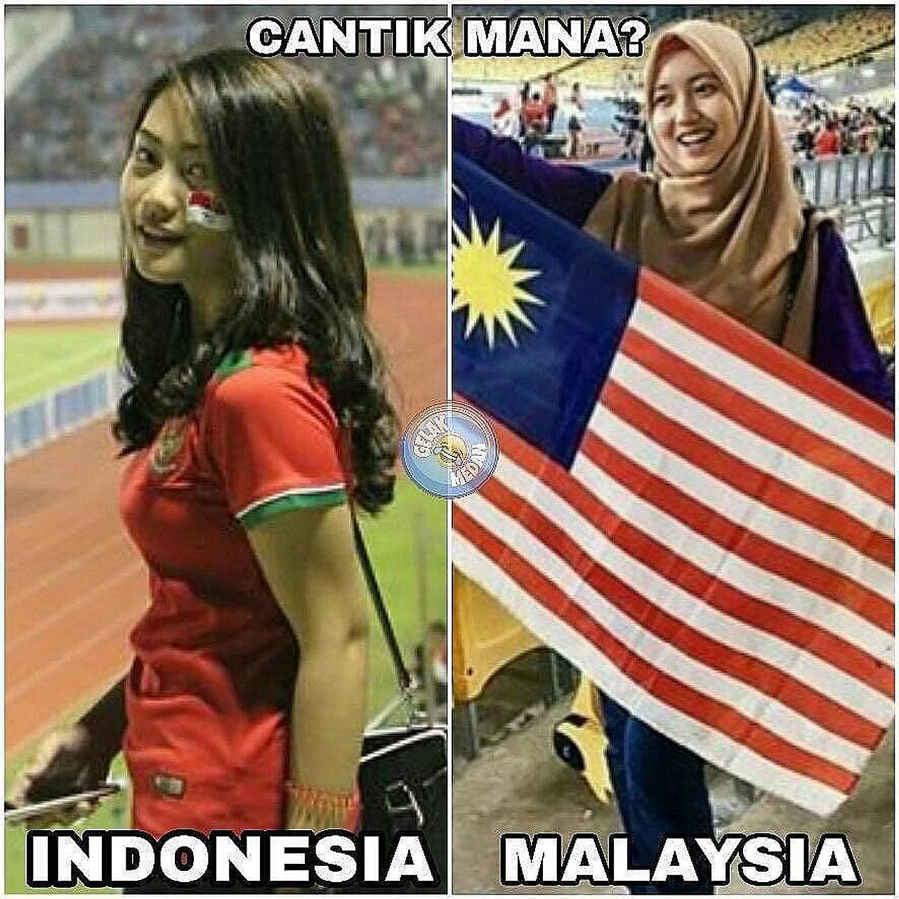 Who's the fairer of them? Ahead of the football semi-final between Indonesia and Malaysia, social media users extended the competition between the two countries to another between fans in the stands.
