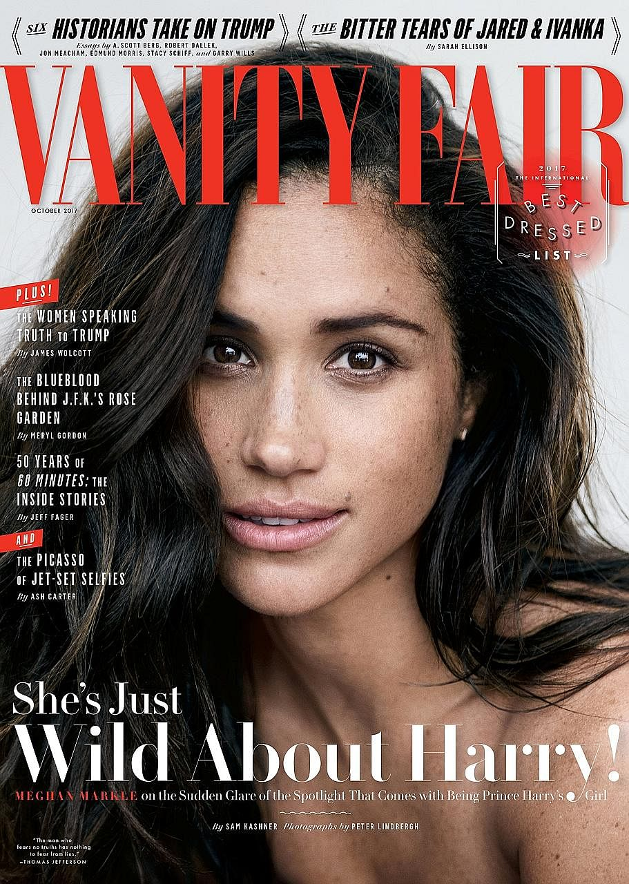 Actress Meghan Markle (far left) told Vanity Fair magazine (above) she met Prince Harry (left) in July last year.