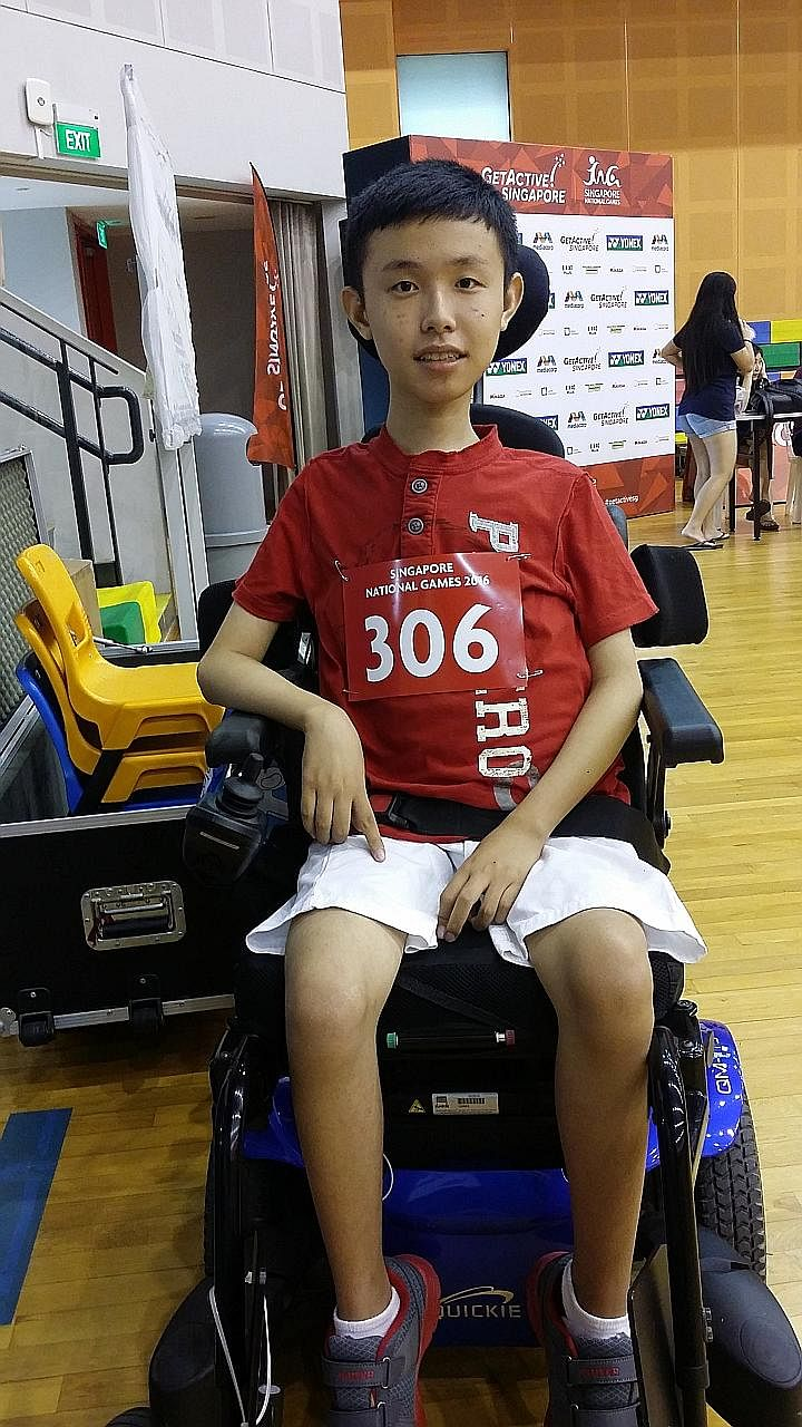 """Gareth Ho at a boccia competition at the Singapore National Games 2016. Gareth, who has muscular dystrophy, is one of three """"ambassadors"""" with disabilities whose stories will be told in an upcoming mass media campaign."""