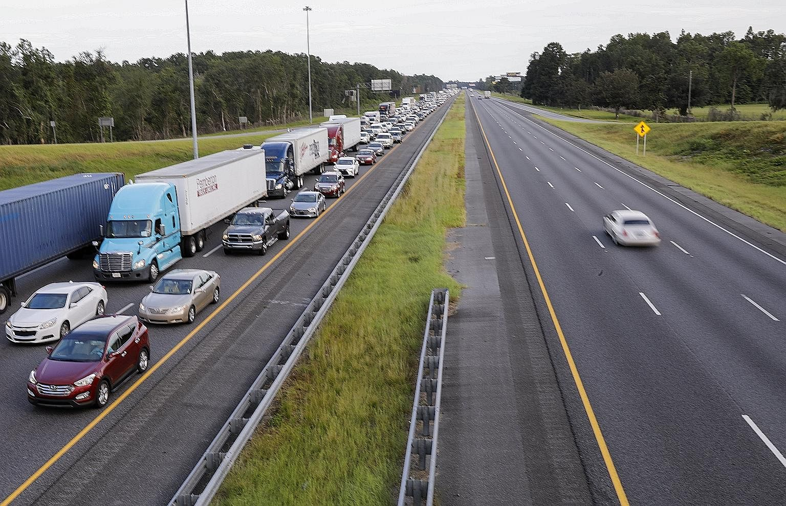 The rush to leave after a state of emergency was declared ahead of Hurricane Irma's expected arrival in Florida this week led to huge traffic jams as millions of people started evacuating from Wednesday.
