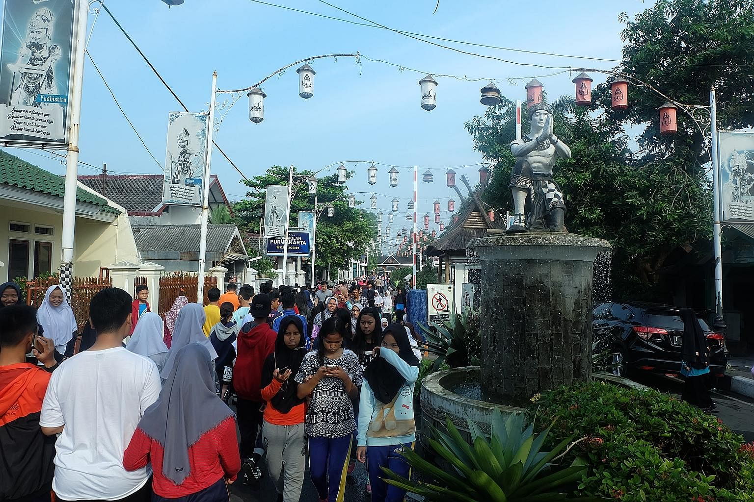 The Sri Baduga Fountain Park, a popular tourist attraction named after a king of the Hindu Sunda kingdom in West Java between 1482 and 1521.