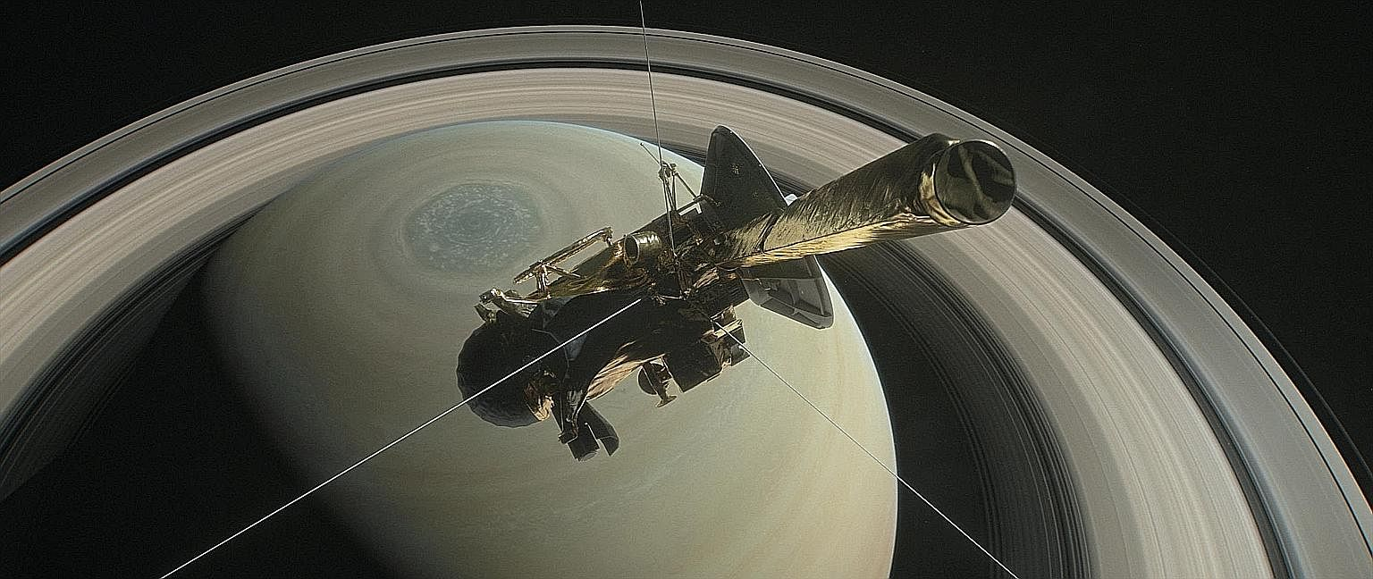A Nasa illustration of Cassini. The spacecraft will end its 20-year journey on Friday by entering Saturn's atmosphere and burning up - but not before sending its final data to Earth.