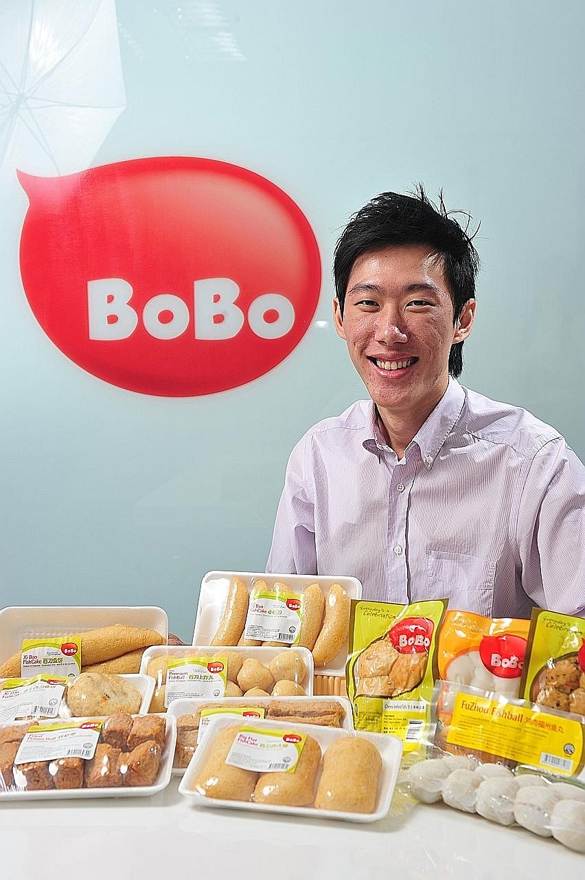 Mr Randall Ang of Ha Li Fa with products from the firm's BoBo brand. Ha Li Fa is keen to ramp up its presence in China, said Mr Ang.
