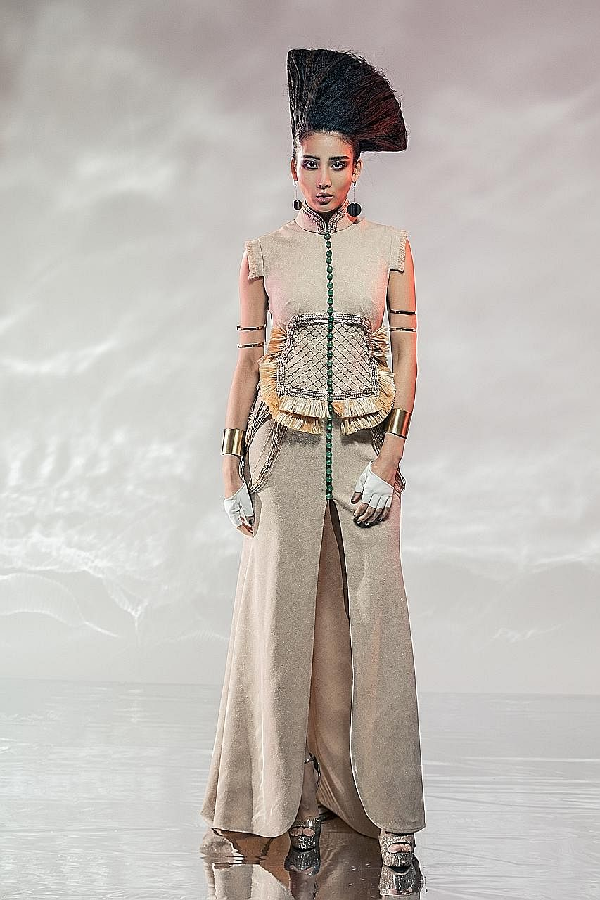 Designer Lai Chan of Laichan will re-create this look (right) with different colours and details for the opening show of the Singapore Fashion Week on Oct 26. Modest wear (above) by Malaysian designer Jovian Mandagie.