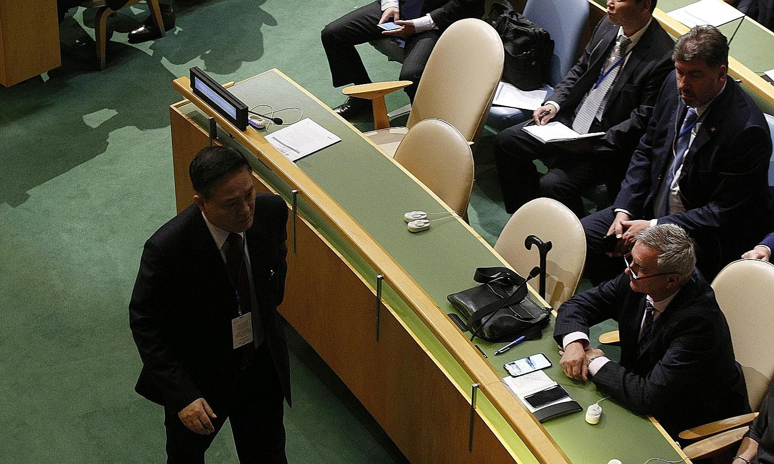 North Korea's Ambassador to the UN, Mr Ja Song Nam, leaving the chamber ahead of US President Donald Trump's address to the General Assembly on Tuesday.