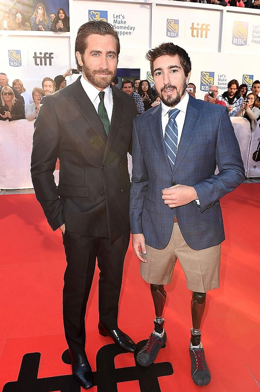 Actor Jake Gyllenhaal and Boston bombing survivor Jeff Bauman (both above) at the Stronger movie premiere during the Toronto International Film Festival earlier this month.