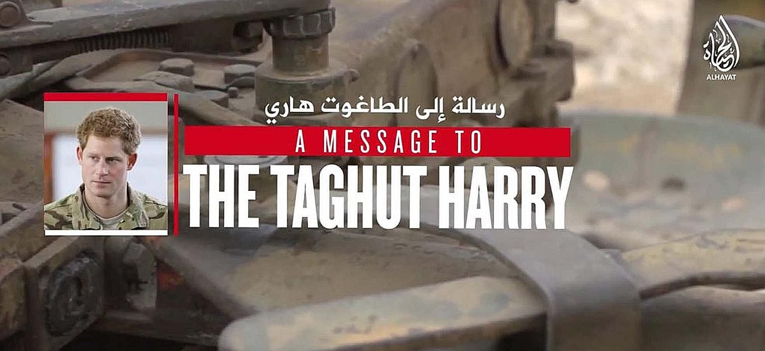 A screenshot of a video posted on social media purporting to show Singaporean Megat Shahdan Abdul Samad urging Britain's Prince Harry to fight ISIS terrorists like him.