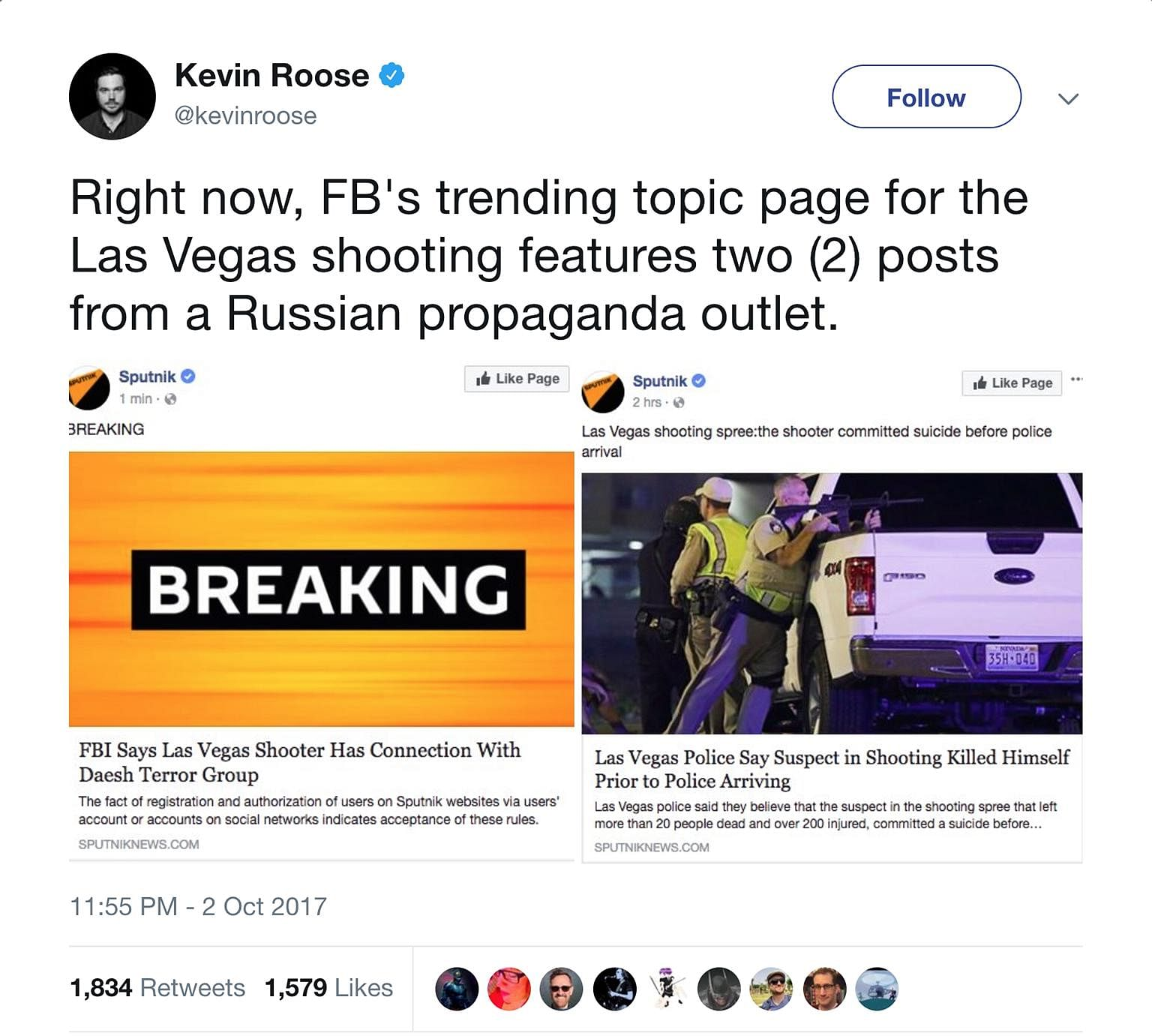 In the wake of last weekend's mass shooting in Las Vegas, Facebook's Trending Stories page brought up stories from Sputnik, a site that reportedly has links to Russia. One trending story, which eventually proved to be false, was that the FBI claimed