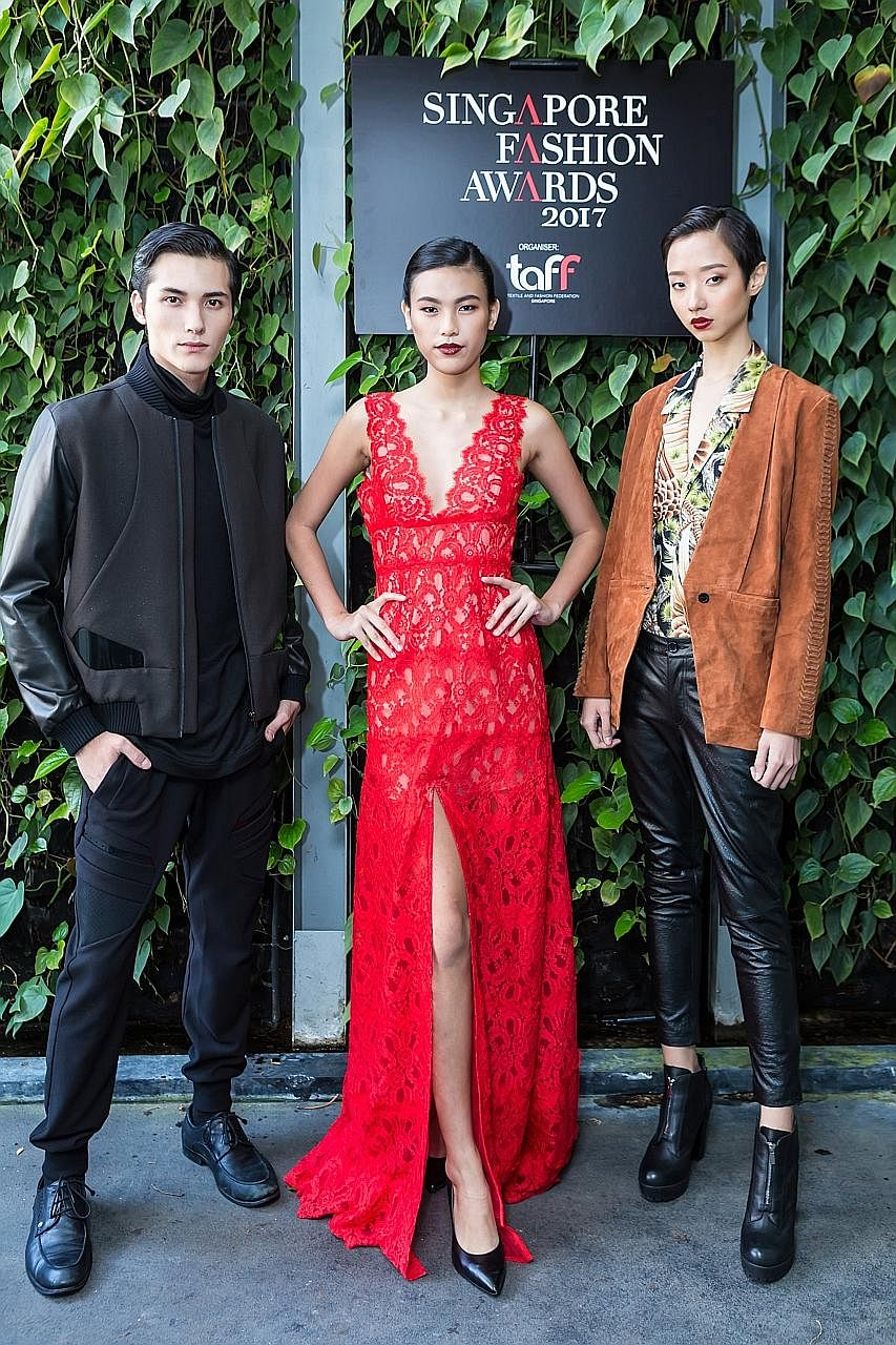 Models dressed in labels (from left) Nuboaix, Aijek and Dzojchen. Designers of these brands have been nominated for the Designer of the Year Award (Fashion).