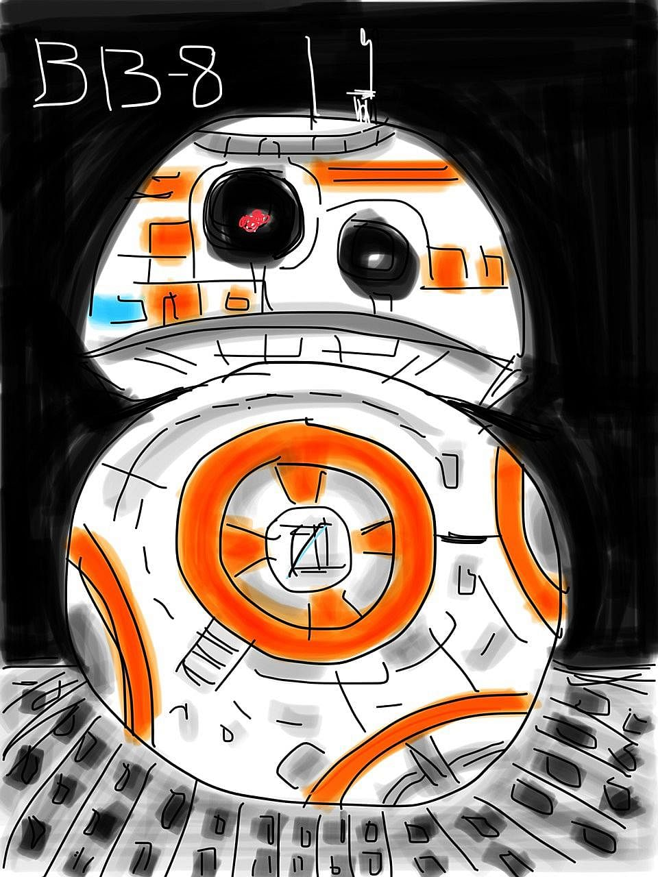 The drawings, which started as a way to encourage the grandson's interest in letters and words, have evolved from stick figures to more complex subjects such as Mack the truck from the film Cars, and BB-8 (above), the droid from Star Wars.