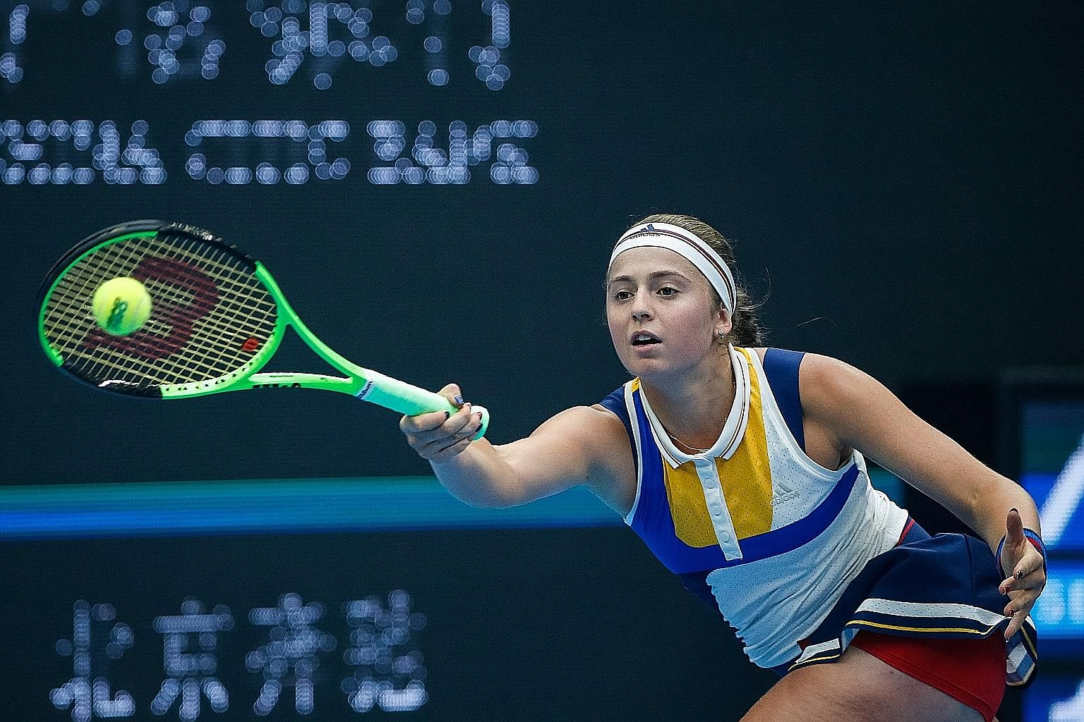 Jelena Ostapenko returning during her loss to world No. 1 Simona Halep in the China Open semi-finals in Beijing this month. The 20-year-old reigning French Open champion from Latvia was a professional ballroom dancer for seven years. This will be her