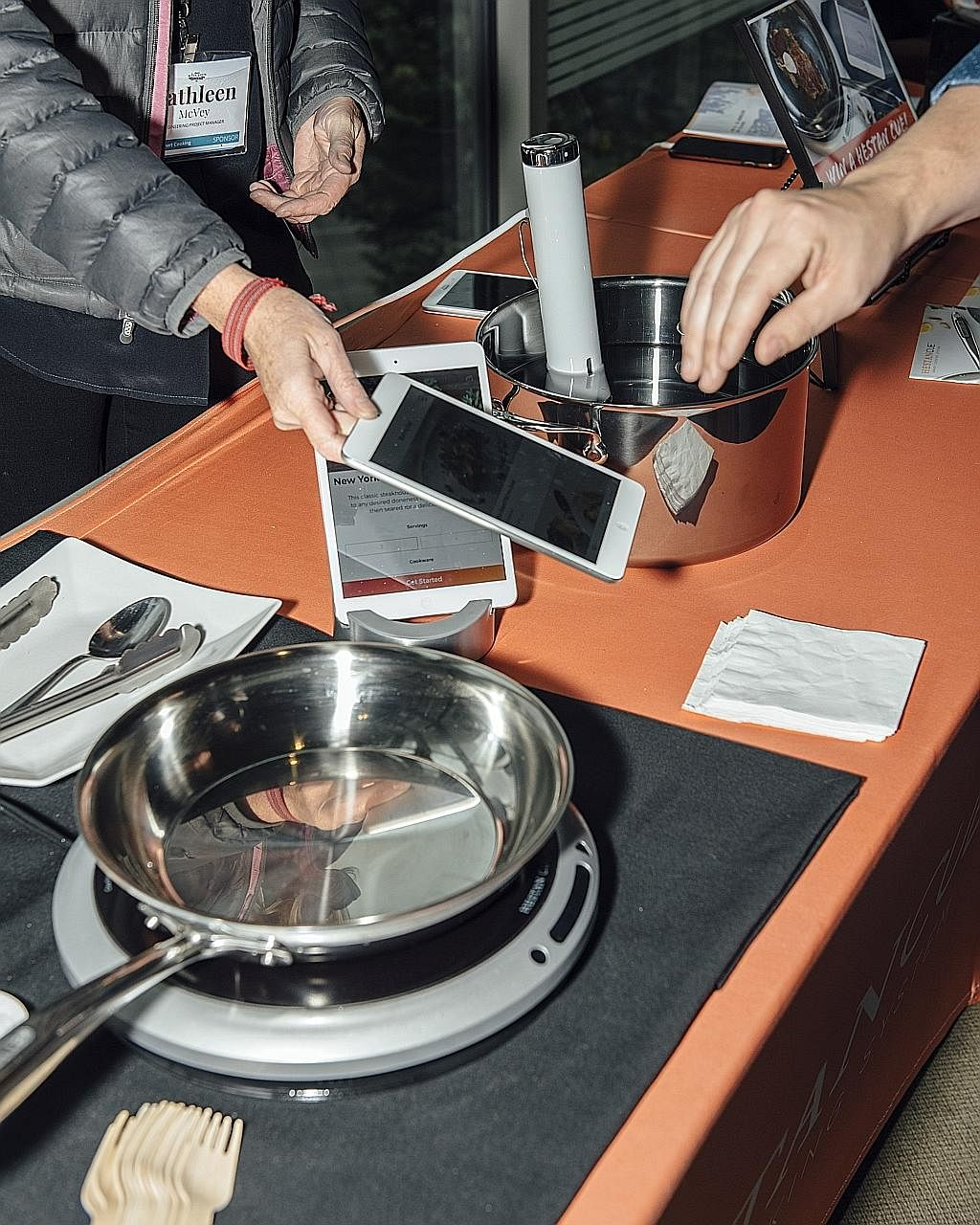 The Hestan Cue cookware system on display at the Smart Kitchen Summit in Seattle.
