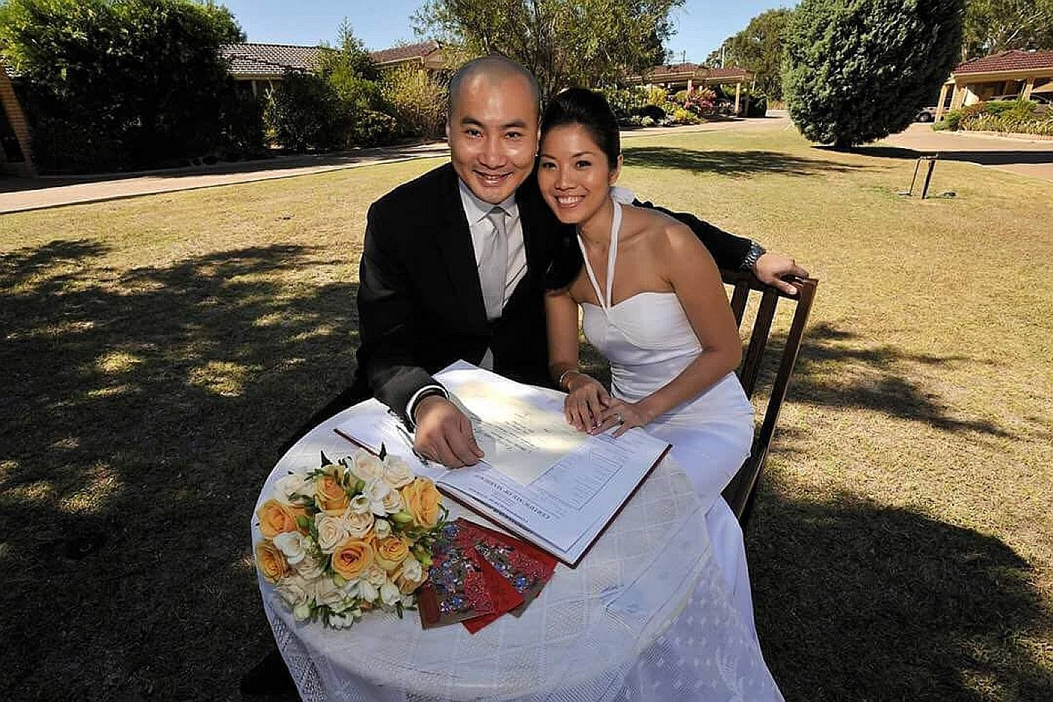 (Clockwise from left) Mr Ricky Ng and his wife Chloe Chan after winning Asian Restaurant of the Year at this year's World Gourmet Summit Awards of Excellence; Mr Ng at Rottnest Island, Western Australia, in the 1990s; and at the couple's wedding in P