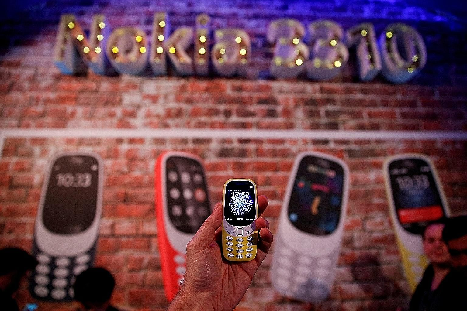 A Nokia 3310 being presented at the Mobile World Congress in Barcelona, Spain, in February. The phone, one of two new devices which went on sale in Singapore this month, is a reboot of the feature phone with the same name from 2000.