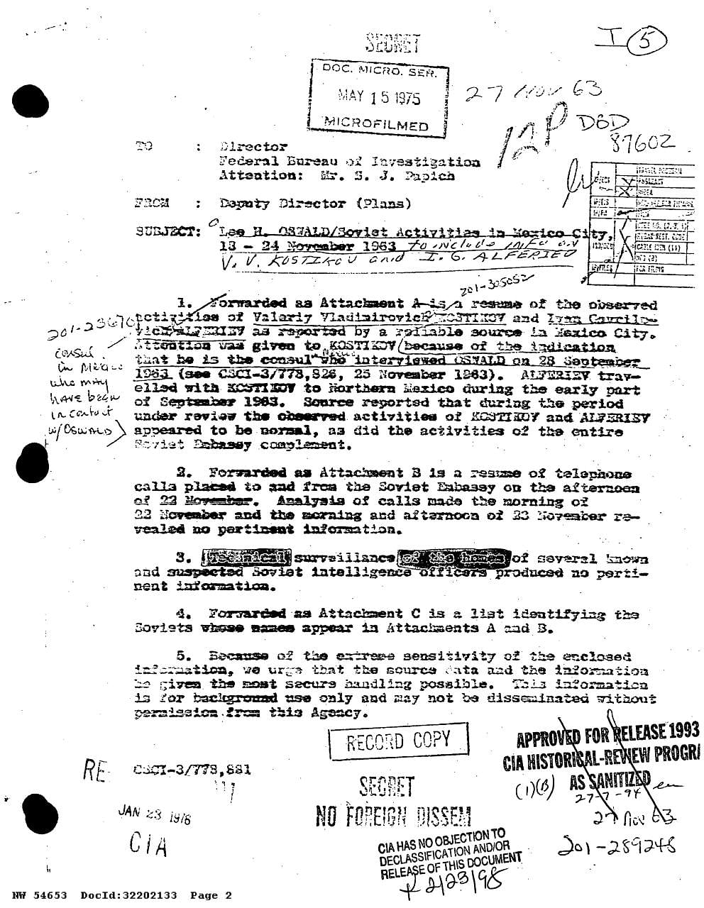 An FBI report about former president John F. Kennedy's killer Lee Harvey Oswald released by the National Archives.