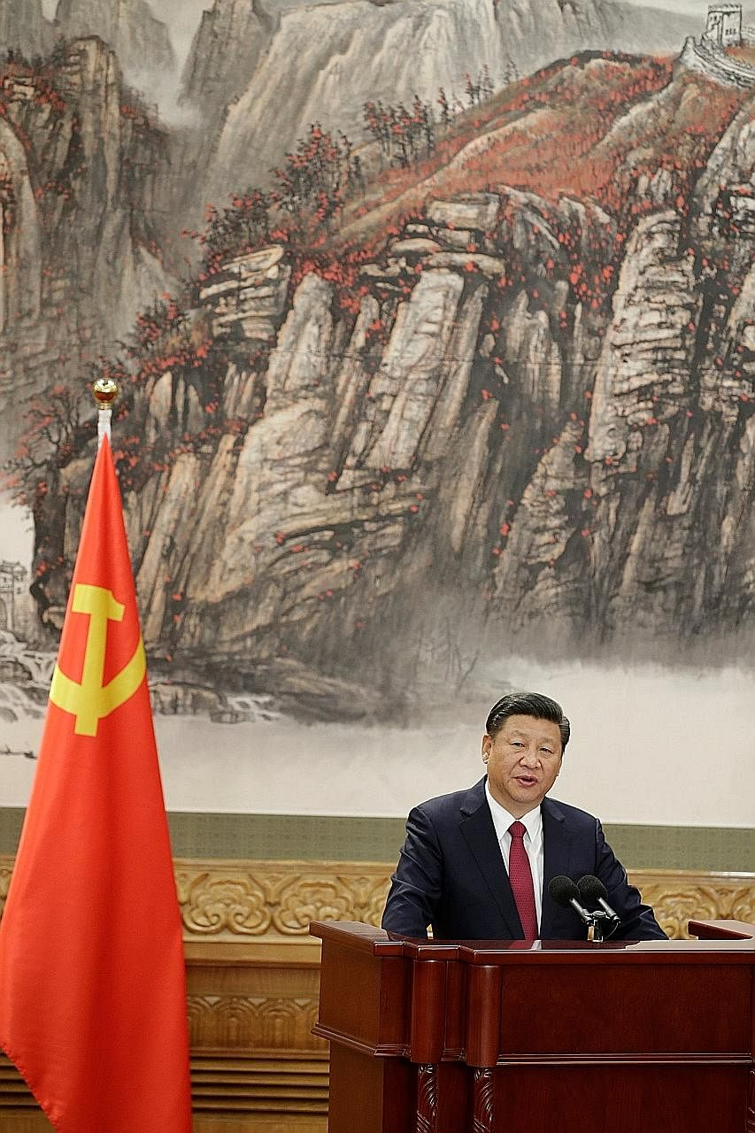 China's President Xi Jinping addressing the press at the Great Hall of the People in Beijing last Wednesday. The writer says that if the Chinese are lucky, Mr Xi will turn out to be an enlightened absolutist, like Singapore's Lee Kuan Yew. If they ar