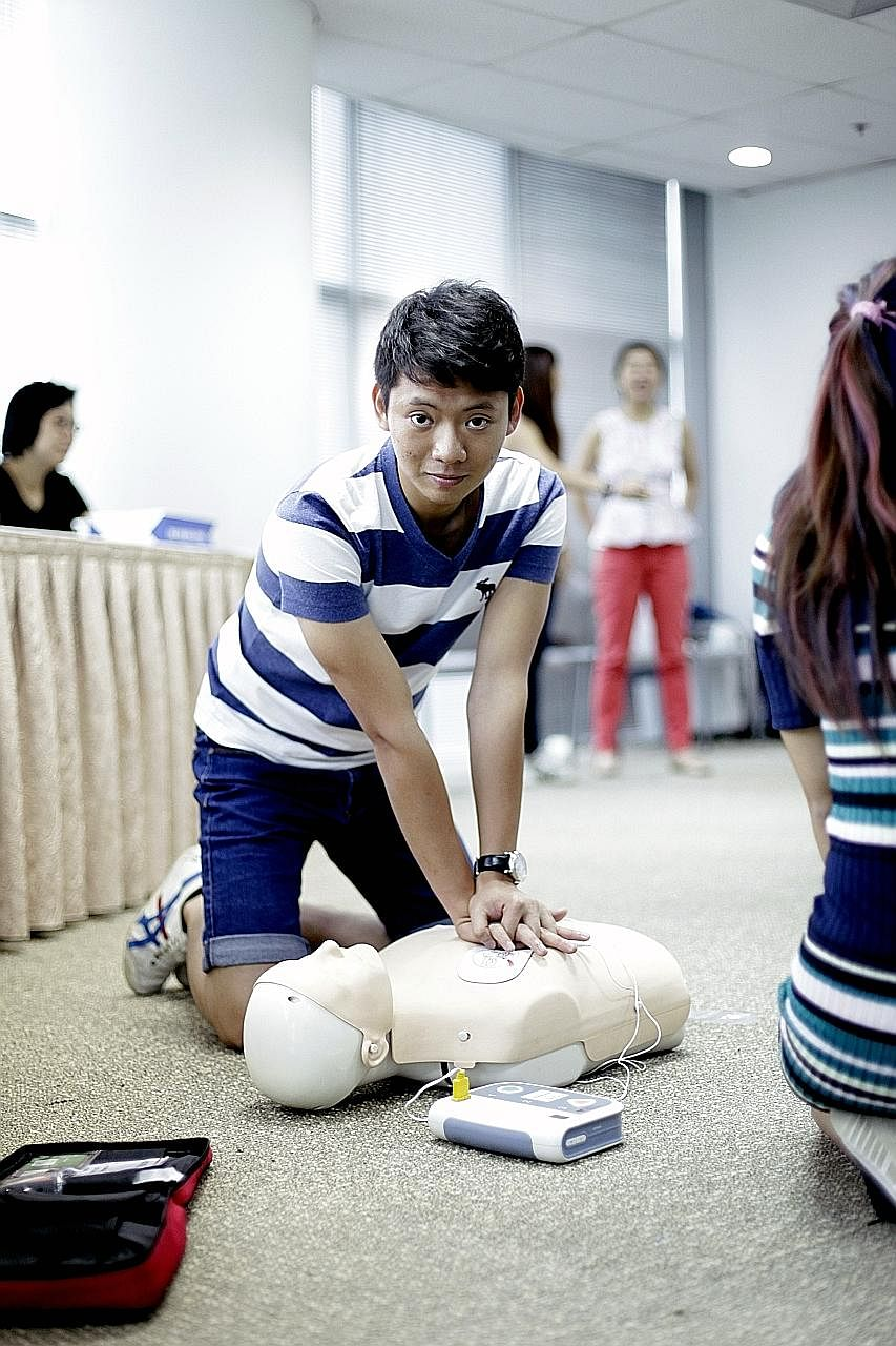 Mr Eugene Seah was activated to help in two cases from the Singapore Civil Defence Force's myResponder app, which alerts volunteers to cardiac arrests near them.