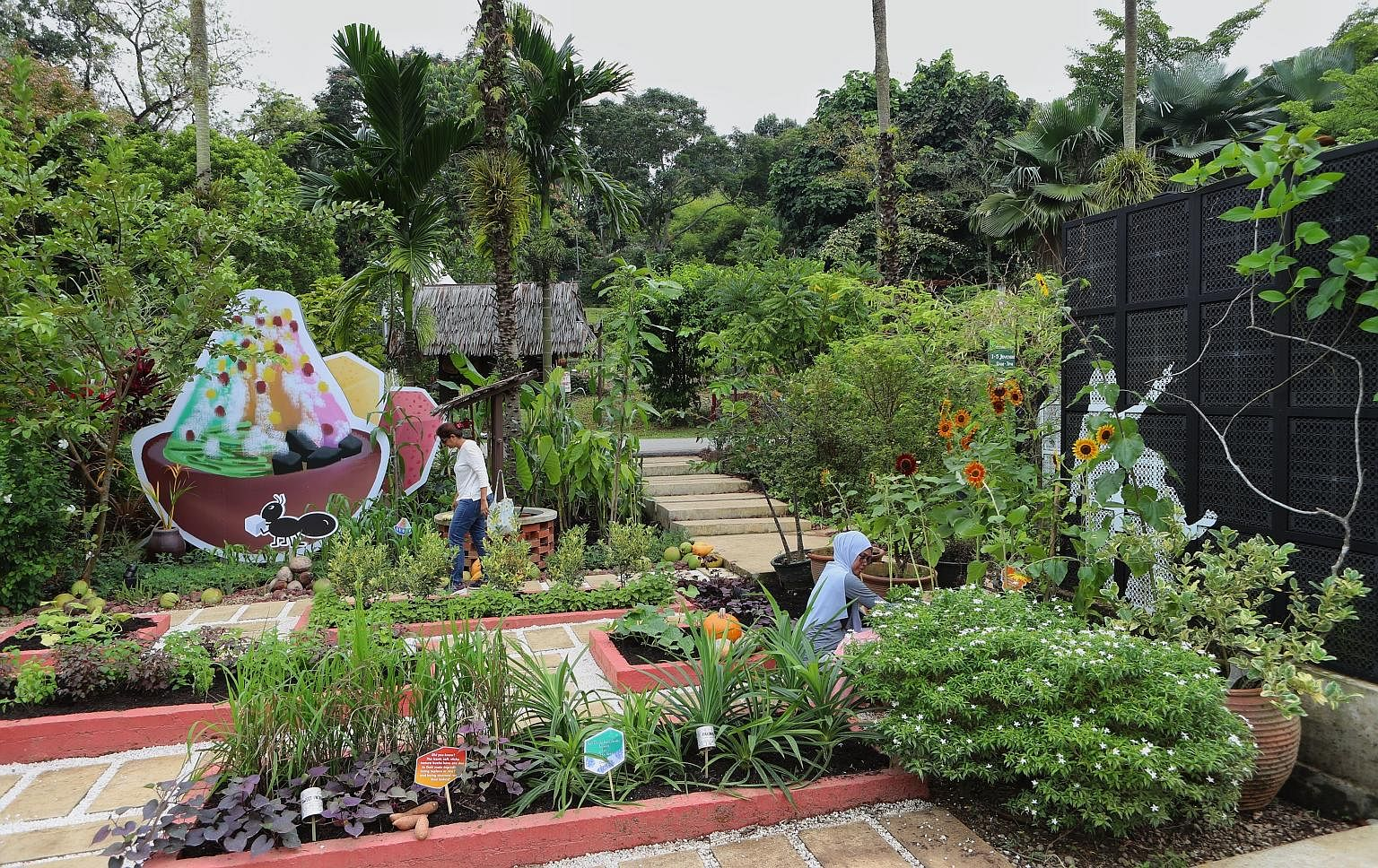 The Balik Kampung garden display focuses on local desserts such as ice kachang, featuring plants that produce the ingredients that go into them. The centrepiece at the festival, held from today to Sunday, is a 3m-tall, over 200kg crimson bird made of