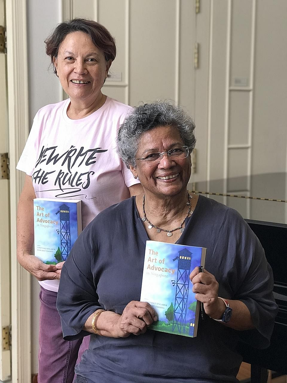 The Art Of Advocacy In Singapore was edited by former journalist Margaret Thomas (far left) and activist Constance Singam.