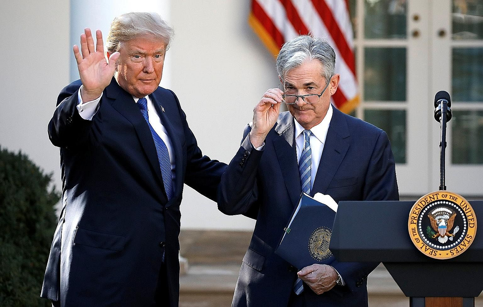 President Donald Trump with Mr Jerome Powell, his nominee to become chairman of the US Federal Reserve, at the White House in Washington last Thursday.
