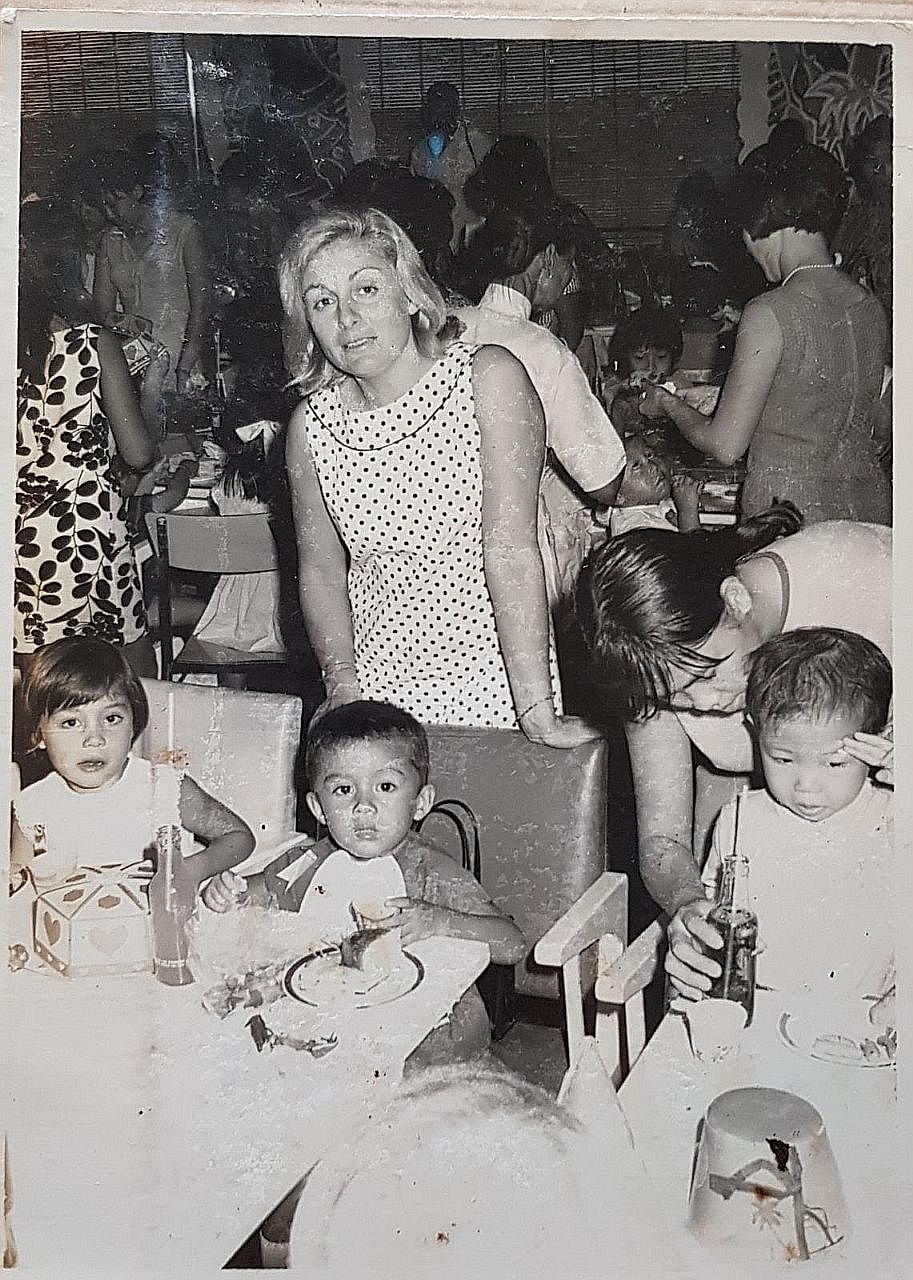 Mr Teo was a fashion designer in the early 1990s. Mr Teo (centre) with PS.Cafe co-founders Richard Chamberlain and Philip Chin in the early 1990s. Mr Peter Teo, aged about two, in the 1960s with his mother, Mrs Vera Teo, and sister Elizabeth.