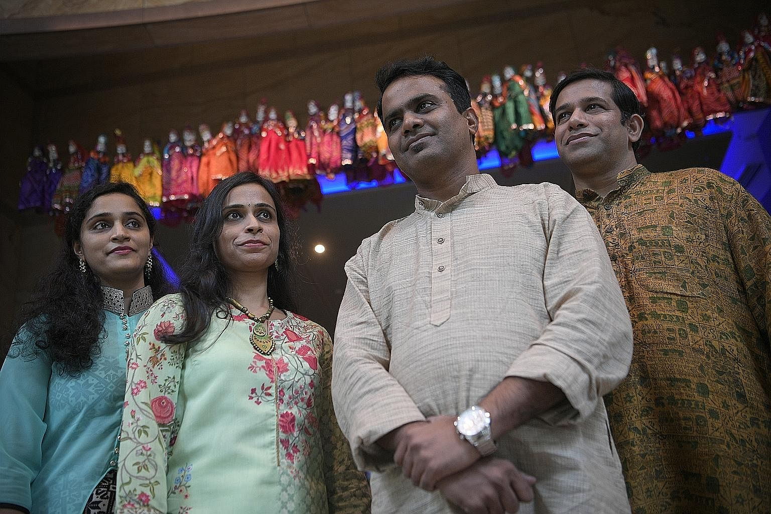 Performers for the Chakra-thon include (from far left) Namitha Mehta, Pratima Bellave, Nawaz Mirajkar and Ravindra Parchure.