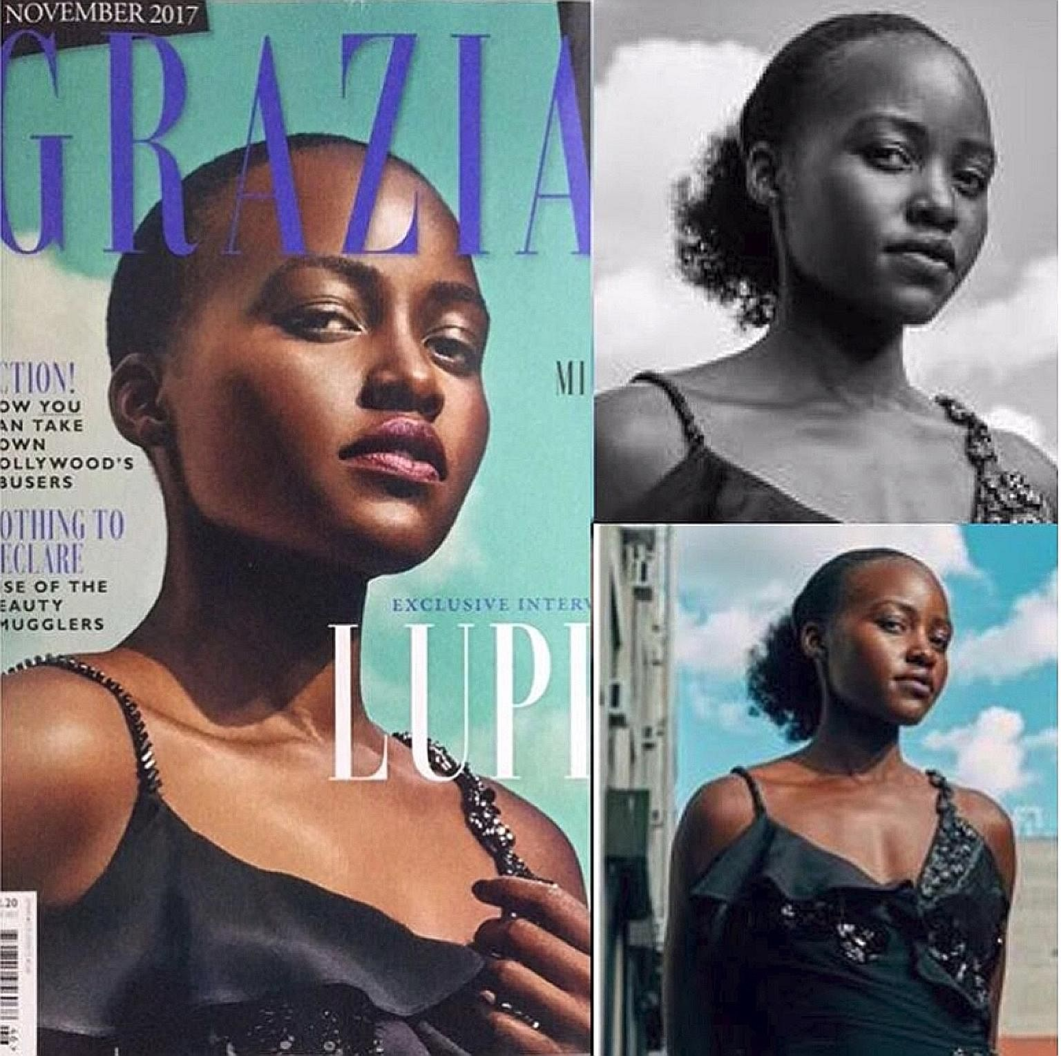 Actress Lupita Nyong'o's mass of curly black hair, held in a thick ponytail at the back of her neck in the original photograph, was gone in an altered image on the cover of the magazine Grazia UK.