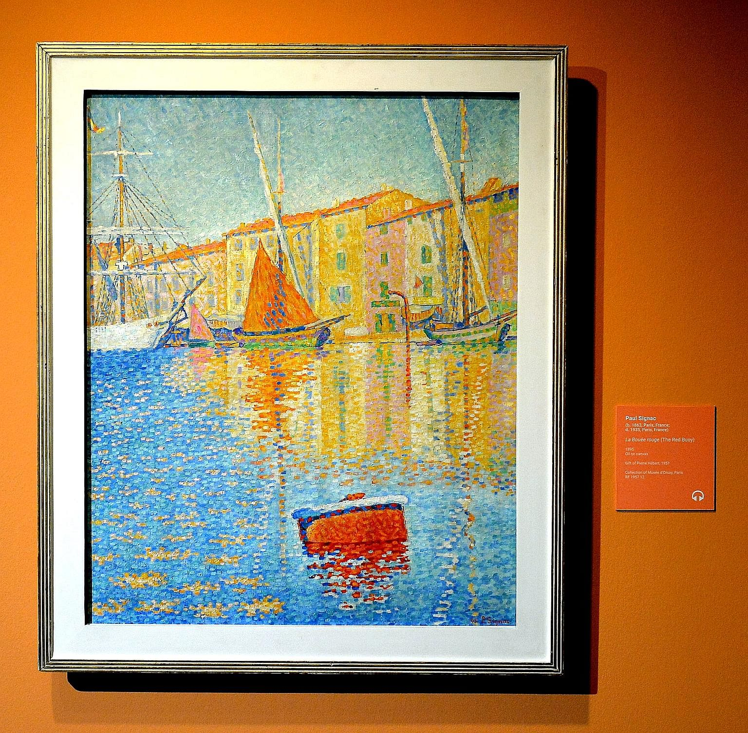 Among the artworks on display are Claude Monet's The Magpie (above) and Paul Signac's The Red Buoy (left).