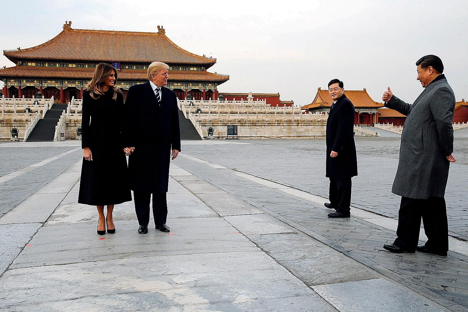 United States President Donald Trump and First Lady Melania Trump visiting the Forbidden City with Chinese President Xi Jinping in Beijing, China, last week. Mr Trump has not simply surrendered the American model of great-power behaviour; he has acti