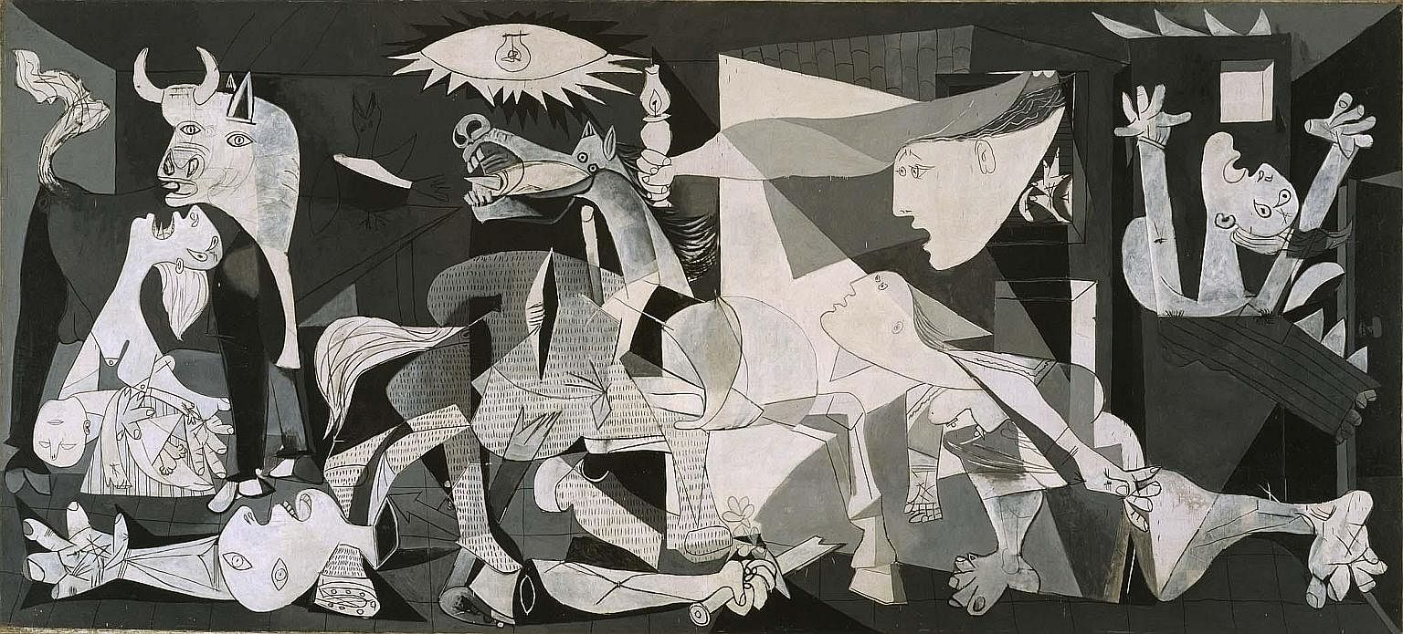 Picasso's Guernica, a black-and-white painting depicting the bombing of a Basque town in 1937, was commissioned by the Spanish Republican government.