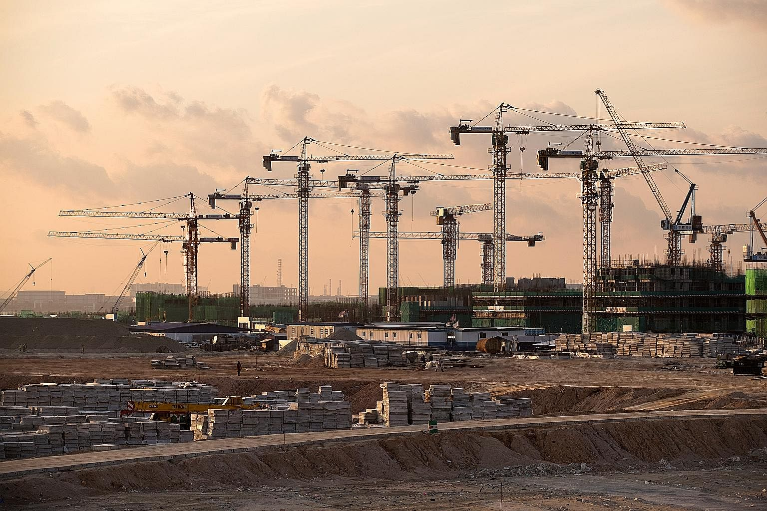 Cranes at the Forest City project in Johor. Malaysia's construction firms have seen great growth in the number of projects to execute, but there remains a concern over the glut in the property market.