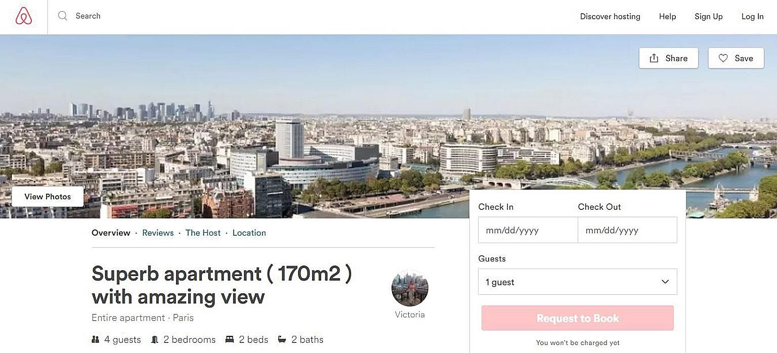 "A screenshot of the fraudulent Airbnb listing for a Paris flat that Ms April Cho responded to. She was told by the ""host"" to send an e-mail, and was then sent a link to a fake payment website that looked like the Airbnb site. Both the listing and the"