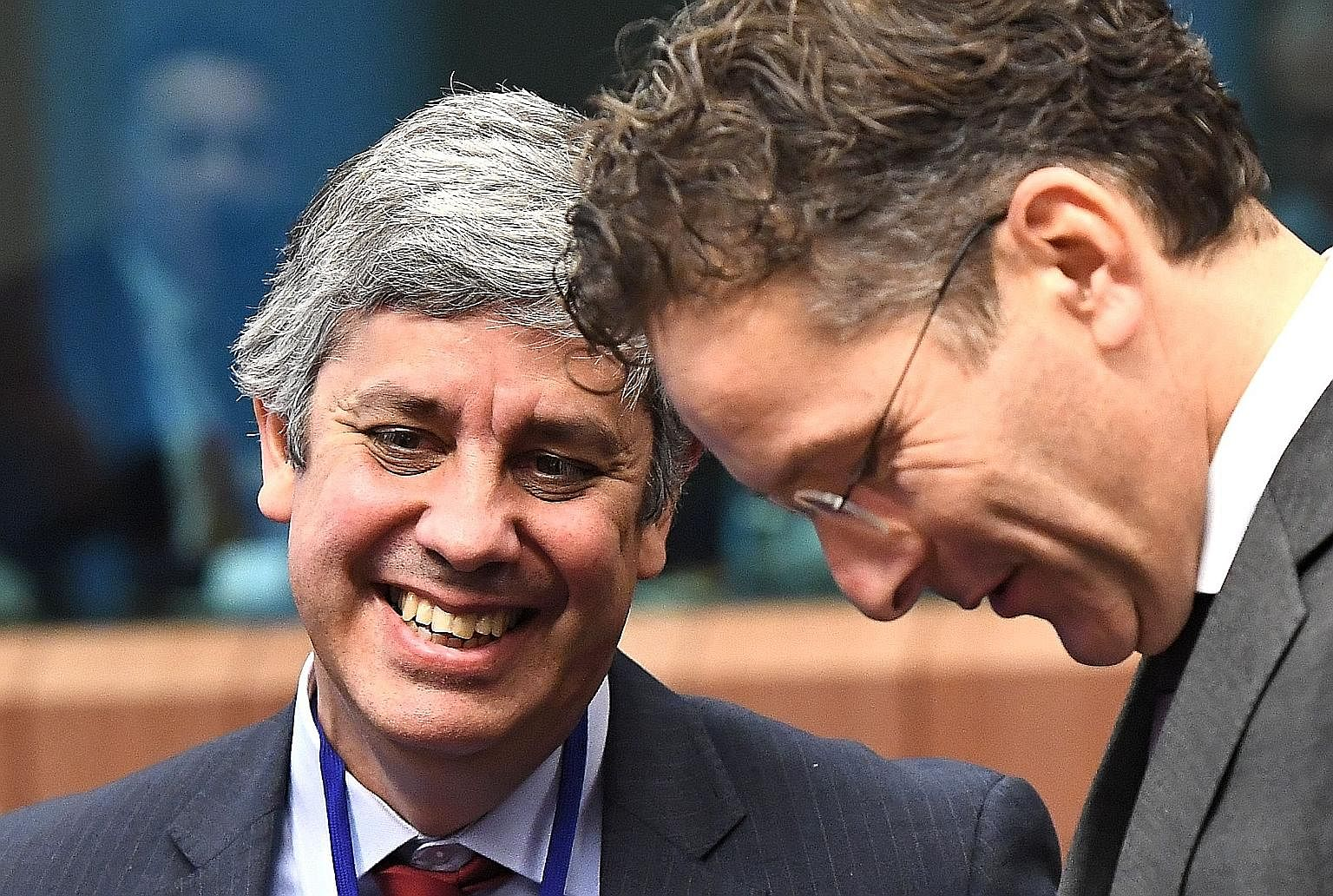 Eurogroup president Jeroen Dijsselbloem (right) and Portugal's Finance Minister Mario Centeno last month. Mr Centeno is the leading contender to replace Mr Dijsselbloem after the latter's term ends in January. Also in the shortlist of candidates aimi