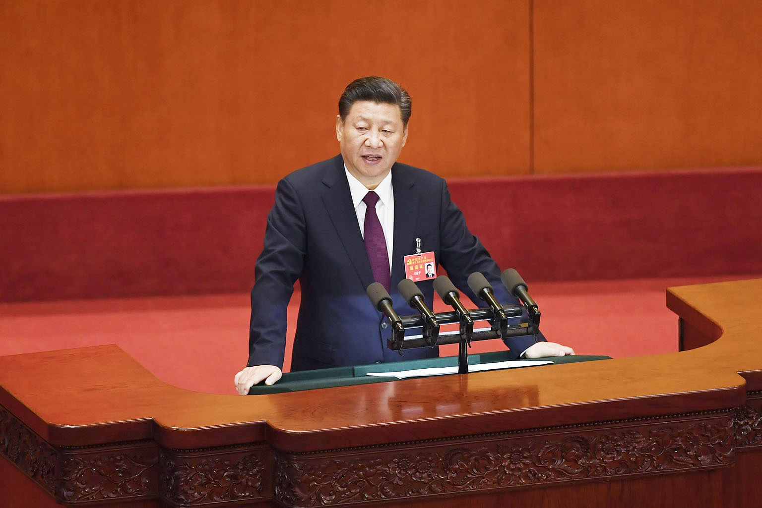 Chinese President Xi Jinping delivering a speech at the opening session of the Chinese Communist Party's Congress in Beijing on Oct 18. Mr Xi's most prominent policy initiative since he took power in 2012 has been his anti-corruption campaign.